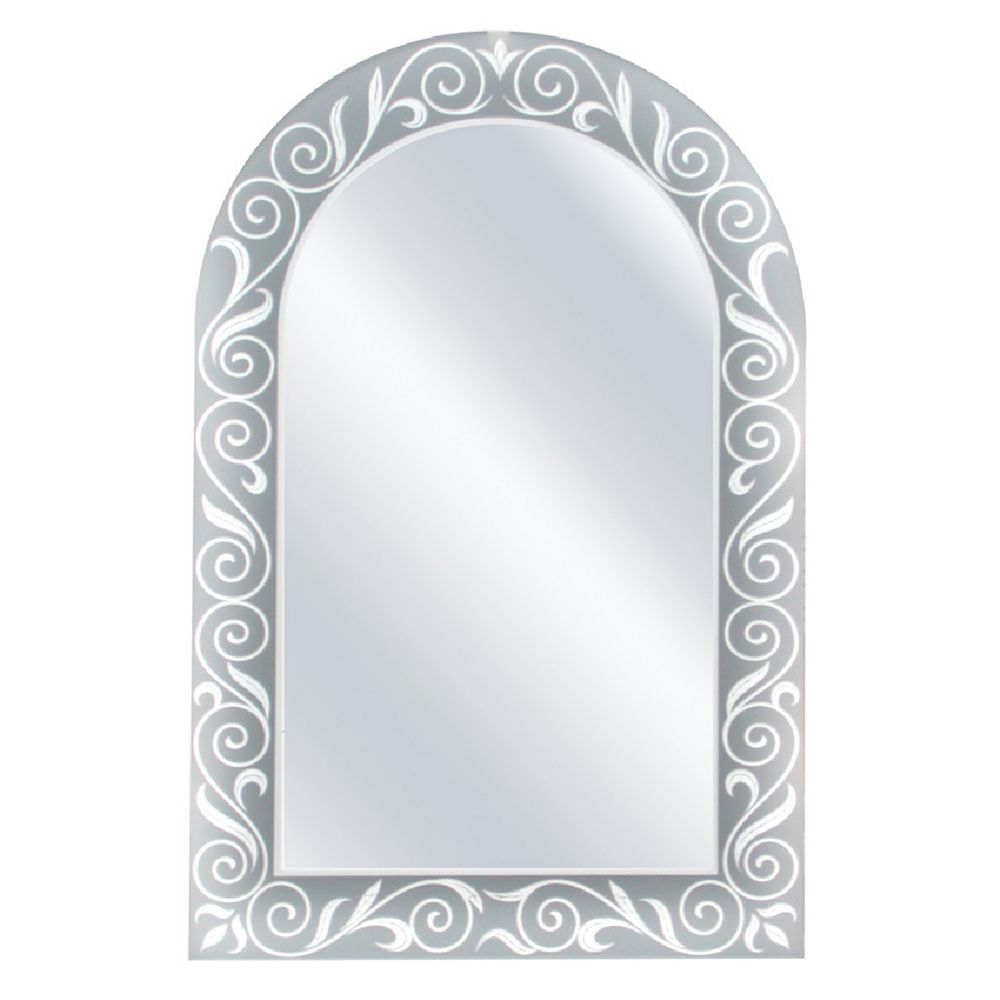 Deco Mirror Miroir mural en forme darche avec motif printanier, 23 po x 35 po