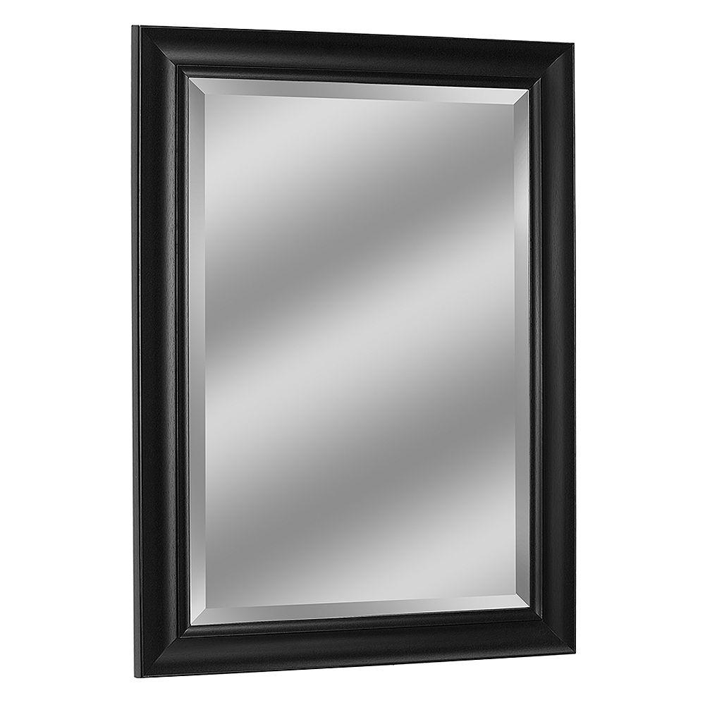 Deco Mirror Miroir mural contemporain au fini noir, 37 po x 47 po