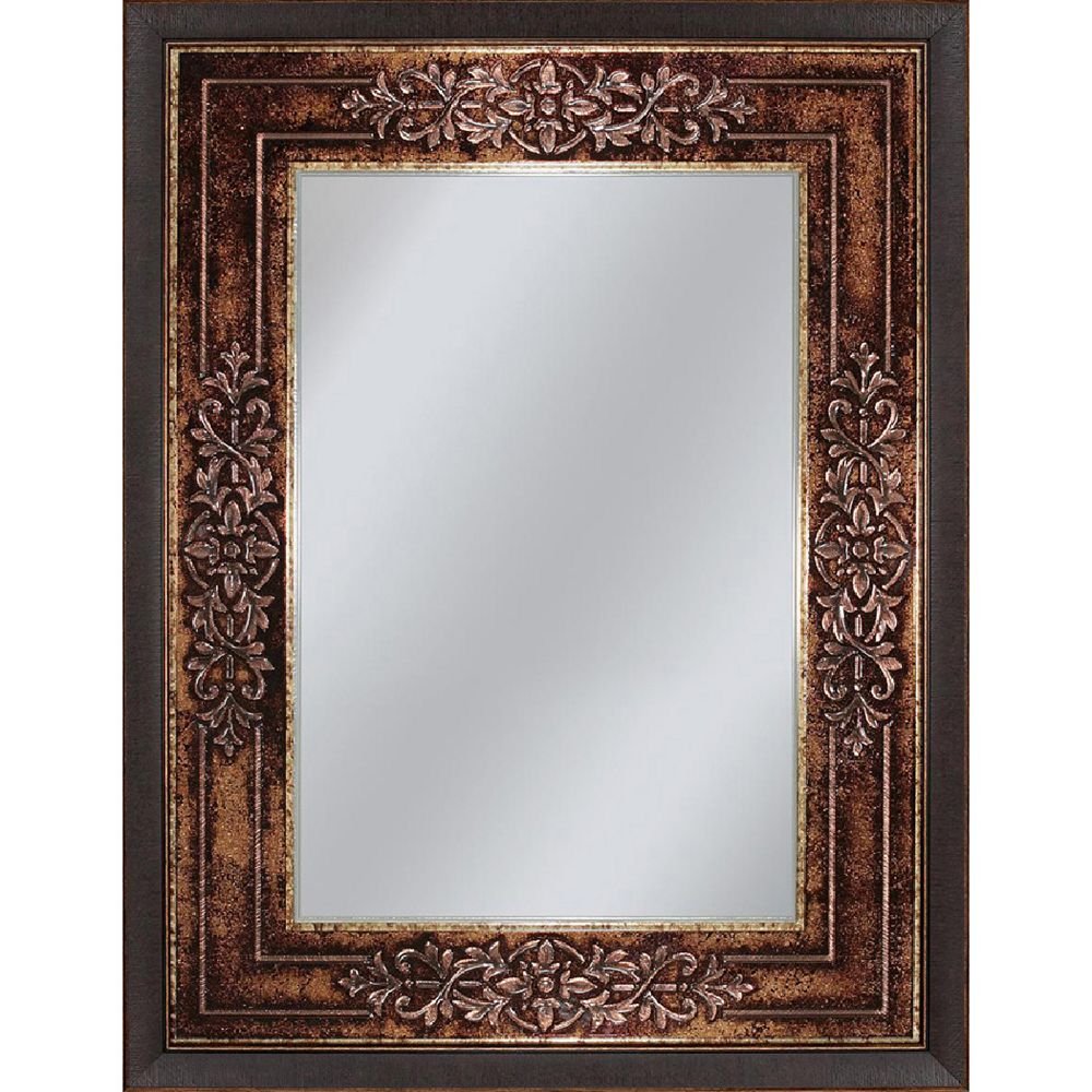 Deco Mirror Miroir mural de Gênes au fini bronze, 27 po x 33 po