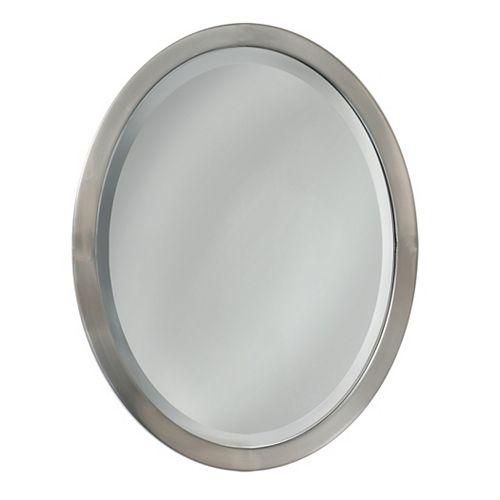 Deco Mirror 23 in. x 29 in. Brush Nickel Oval Wall Mirror