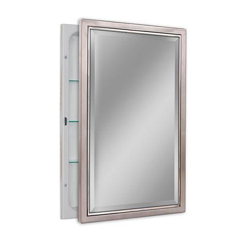 Deco Mirror Armoire à pharmacie encastrée au fini nickel brossé et chrome, 16 po x 26 po