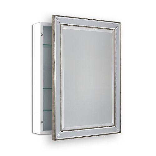 Deco Mirror Armoire à pharmacie en saillie avec perles Metro, 22 po x 30 po