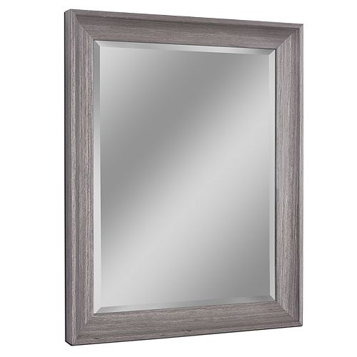 Deco Mirror 27 in. x 33 in. Transitional Driftwood Wall Mirror  Grey