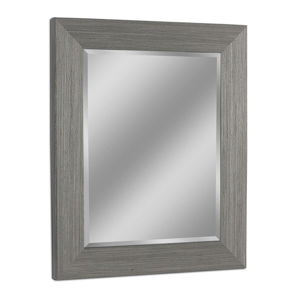 Deco Mirror Miroir mural au fini de style boîte rustique en bois de grève, 29 po x 35 po, gris