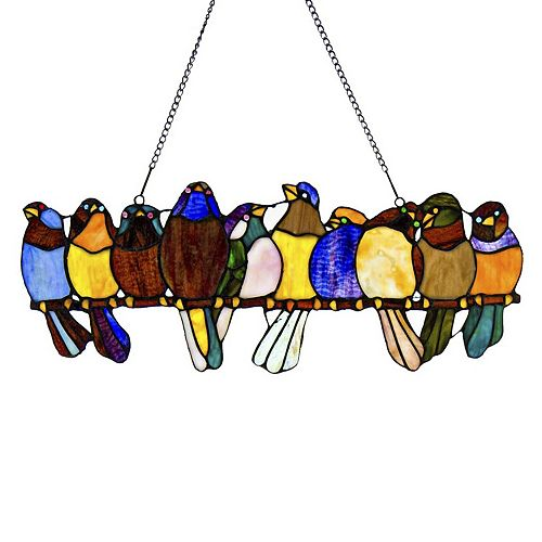 Birds On A Wire Bright Stained Glass Window Panel