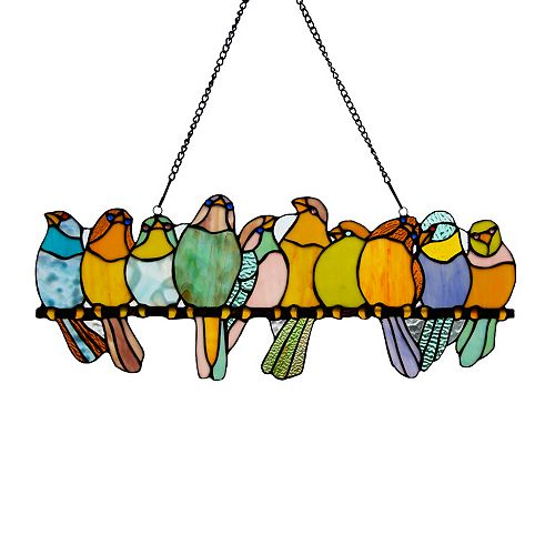 Birds on a Wire Pastel Stained Glass Window Panel