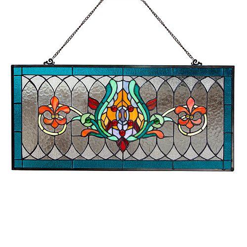 Louis Fleur De Lis Blue Stained Glass Window Panel