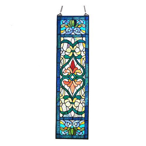 Victorian Fleur De Lis Blue Stained Glass Window Panel