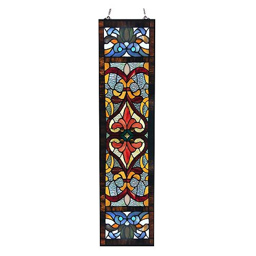 Victorian Fleur De Lis Red Stained Glass Window Panel
