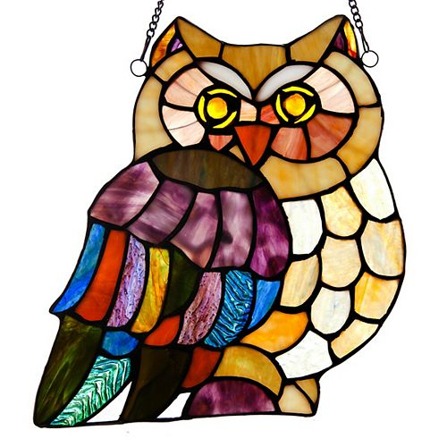 Wise Owl Stained Glass Window Panel