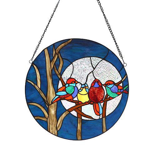 Night Birds In Moonlight Stained Glass Window Panel