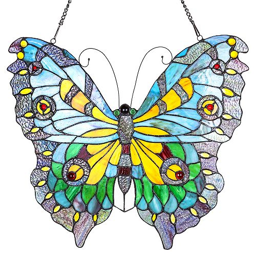 Spring Butterfly Stained Glass Window Panel