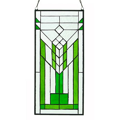 Prairie Mission Green Stained Glass Window Panel
