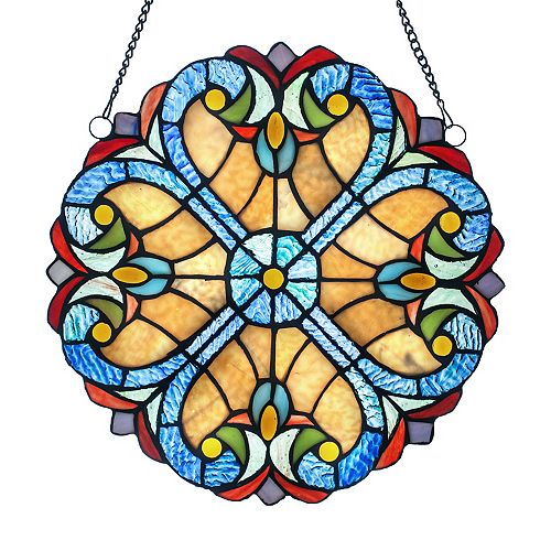 Halston Amber Stained Glass Window Panel