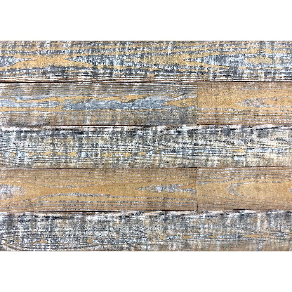 Easy Planking Planche Murale en Bois de 1/4 po x 5 po x 4 pi Traité Thermiquement 10 pi2 par Paquet de 6 Planches