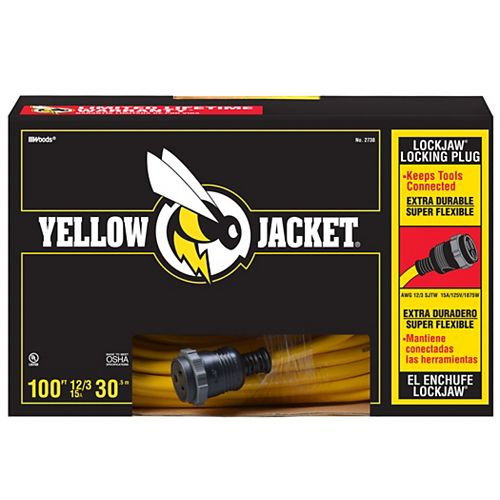 Locking Yellow Jacket 12/3 SJTW 100 ft. Extension Cord