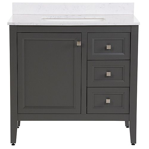 Darcy 37 inch W Bath Vanity in Shale Gray with Stone Effects Vanity Top in Pulsar