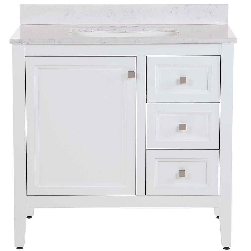 Moen Darcy 37 inch W Bath Vanity in White with Stone ...