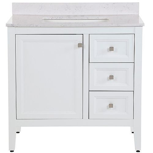 Darcy 37 inch W Bath Vanity in White with Stone Effects Vanity Top in Pulsar