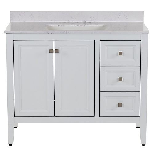Darcy 43 inch W Vanity in White with Stone effect Vanity Top in Pulsar
