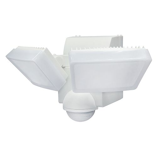 180° Battery-Operated Motion Sensor Security Double Light with 800 Lumens in White