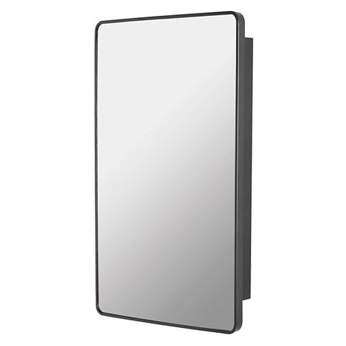 22-inch x 30-inch Metal Framed Surface Mounted Medicine Cabinet in Black Finish