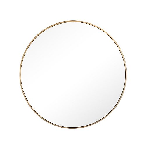 Madison, Round Metal Framed Surface Mounted Medicine Cabinet, Satin Gold Finish 28 inch x 28 inch