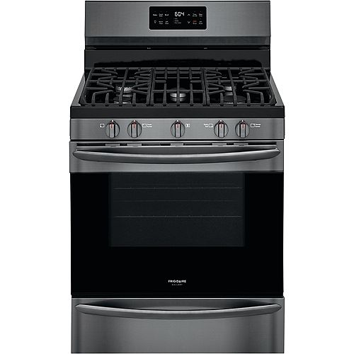 Frigidaire Gallery 30-inch 5.0 cu. ft. Freestanding Gas Range in Smudge-Proof® Black Stainless Steel
