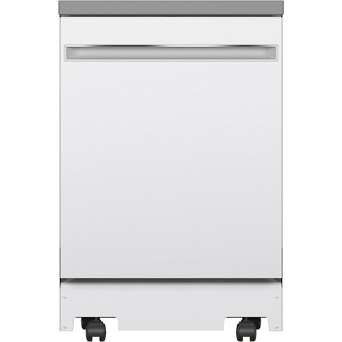 58 dBA 24-inch Portable Dishwasher with 12 Place Settings Capacity Stainless Steel Tub in White