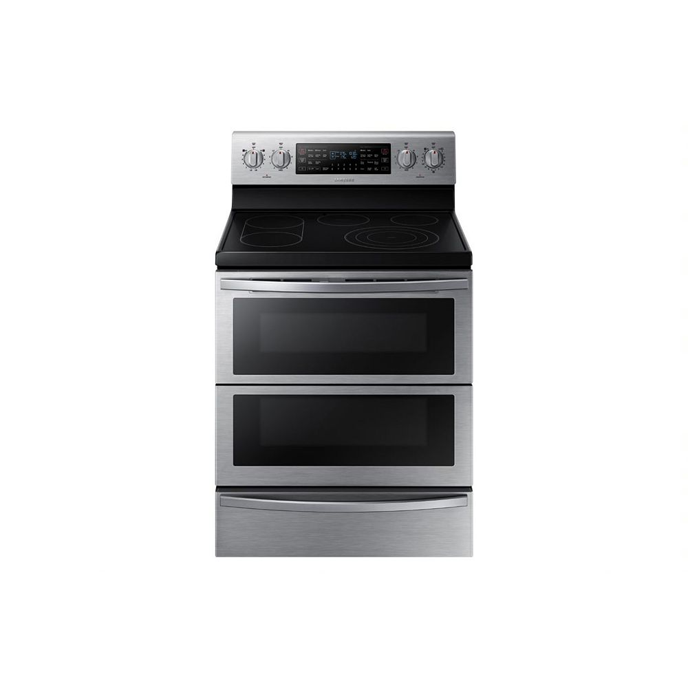 Samsung 5.9 cu. ft. Double Oven Electric Range with Self-Cleaning Convection Dual Door Oven in Stainless Steel
