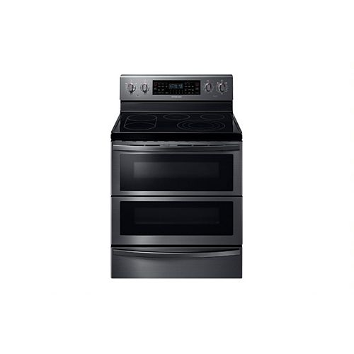 5.9 cu. ft. Double Oven Electric Range with Self-Cleaning Convection Dual Door Oven in Black Stainless Steel