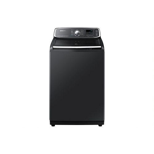 Laveuse à chargement par le haut à haute efficacité de 6,0 pi3 avec vapeur en acier inoxydable noir - ENERGY STAR®