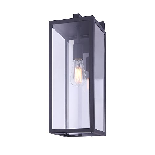 MONTANA 20 inch large 1-light black outdoor wall light with clear glass panels