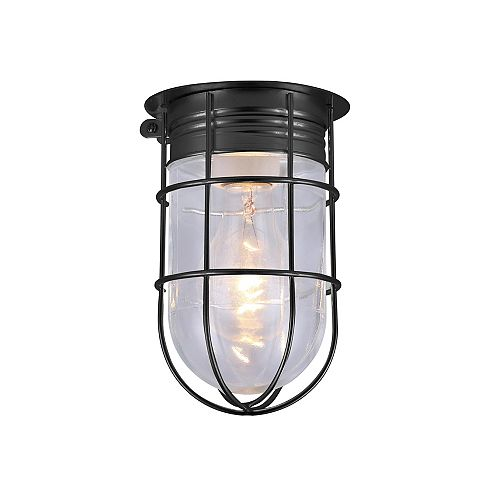 1-light matte black outdoor ceiling light with clear glass and metal cage