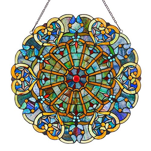 Victorian Hearts Multicolor Stained Glass Window Panel