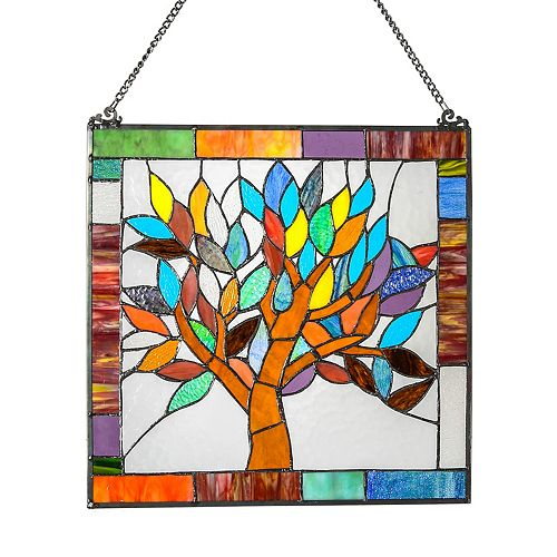 World Tree Stained Glass Window Panel