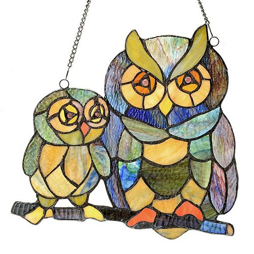 Owl Pals Stained Glass Window Panel
