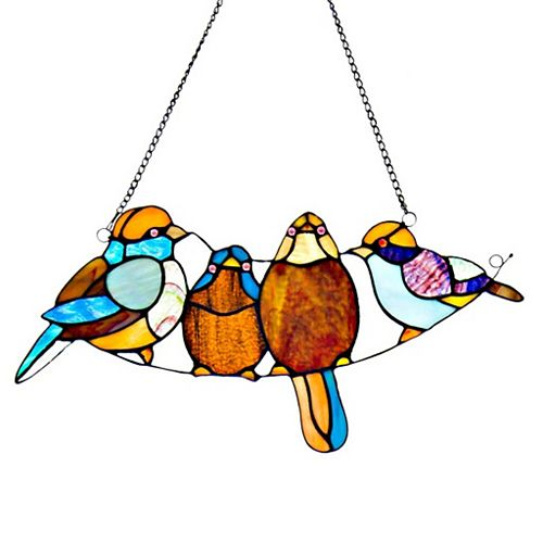 Sweet Song Birds Stained Glass Window Panel