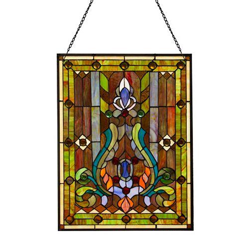 Grande Dame Fleur De Lis Stained Glass Window Panel