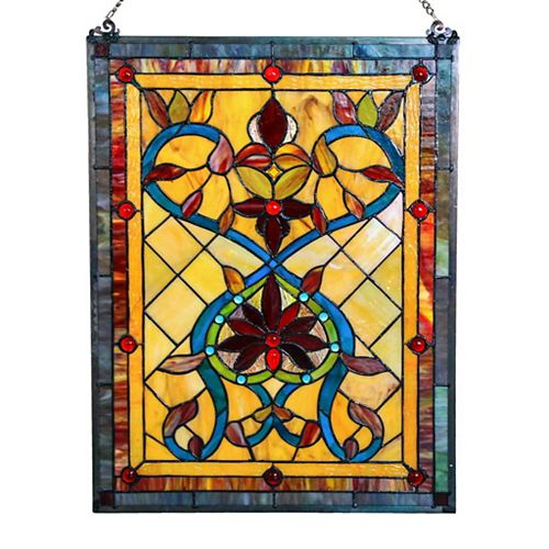 Hearts of Fire Stained Glass Window Panel