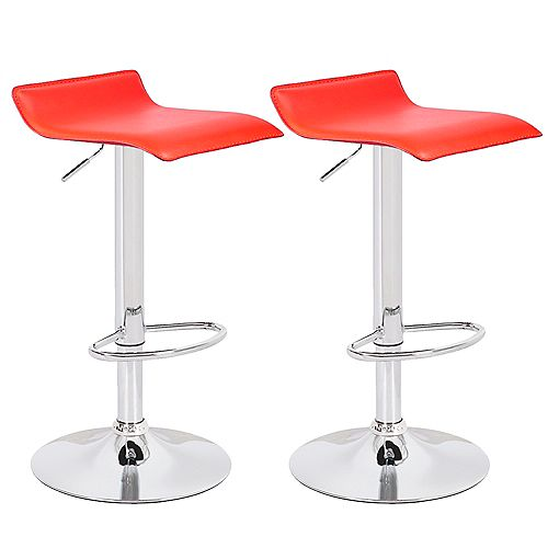 Red Leatherette Bar Stool with Adjustable Height, 360 Swivel and Low Backrest - Set of 2