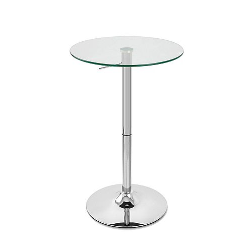 Bronte Living Glass Bar Table Rounded Top with Adjustable Height and Swivel Design