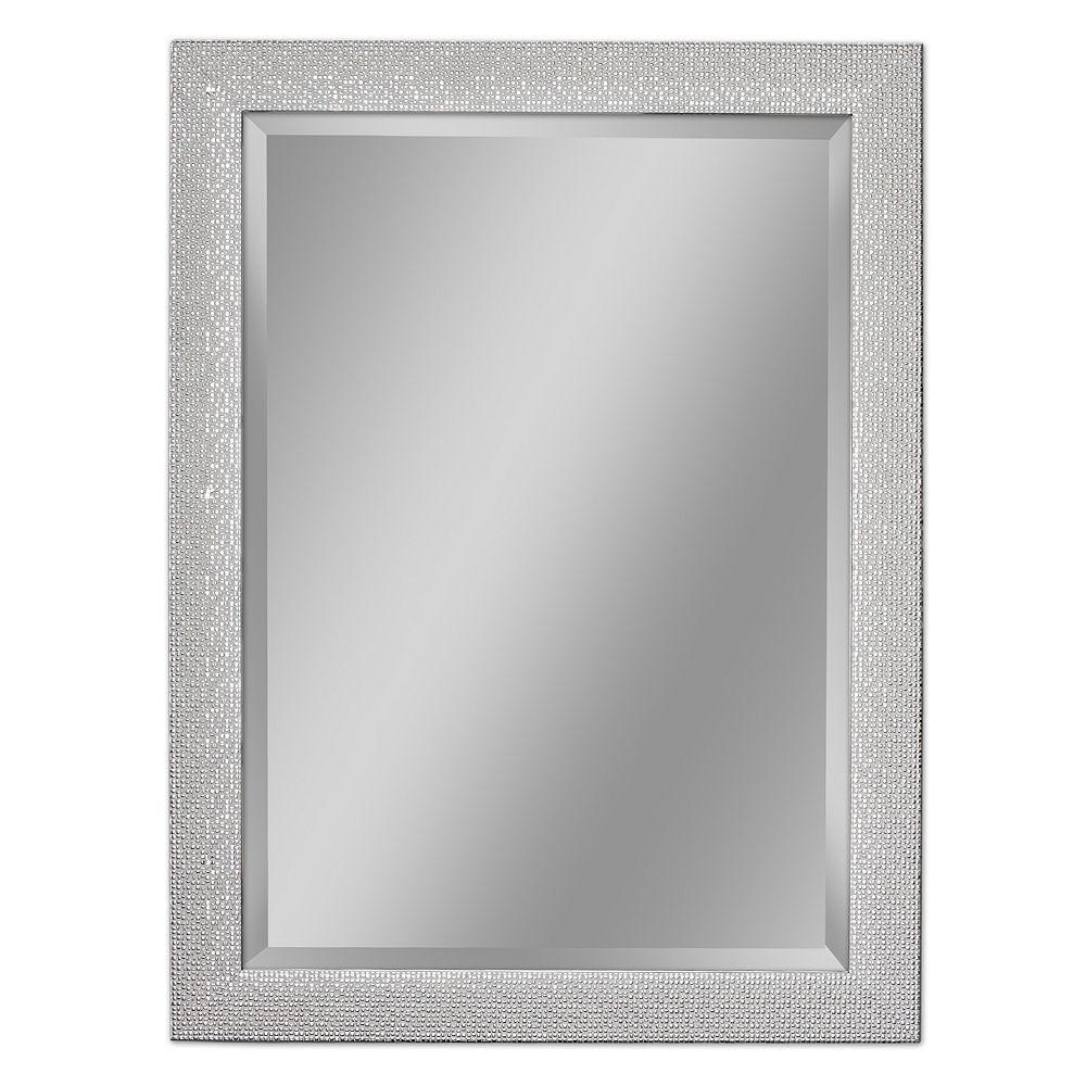 Deco Mirror Miroir mural de couleur blanche et chrome avec motif de carrés, 28 po x 34 po
