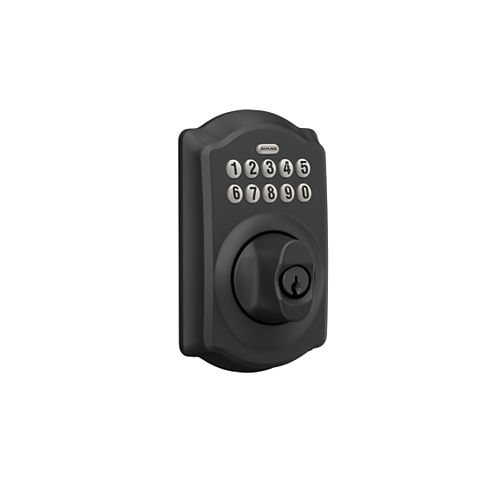 Schlage Accent Matte Black Keypad Electronic Door Lever with Camelot Trim
