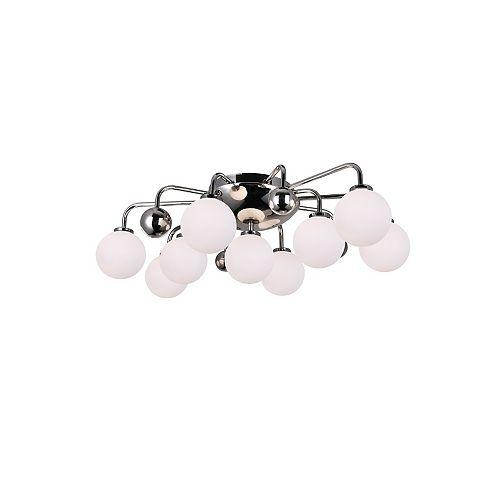 CWI Lighting 9 Light Flush Mount with Polished Nickel Finish