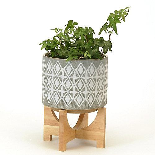 Large Ceramic Planter on Wood Stand