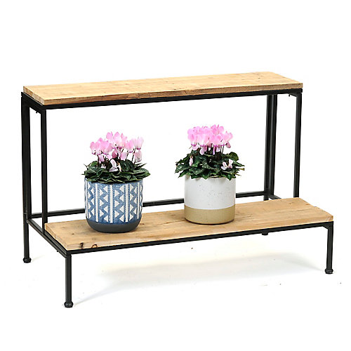 2-Tier Reclaimed Wood Plant Stand