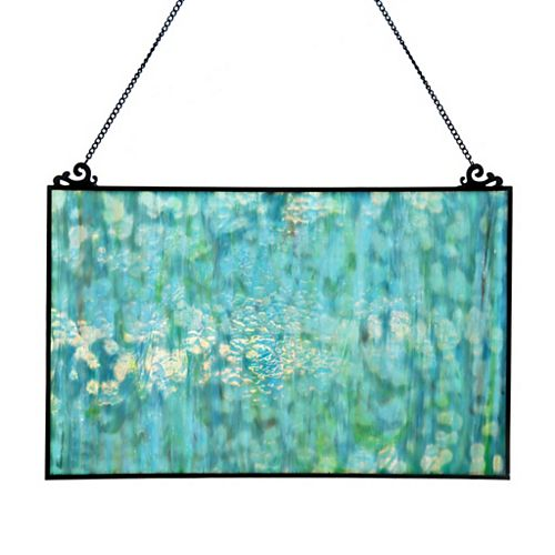 Marbled Blue Stained Glass Window Panel