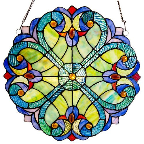 Halston Blue Stained Glass Window Panel
