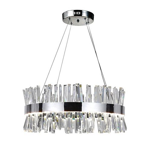 CWI Lighting Faye 26 inch Round LED Chandelier with Chrome Finish